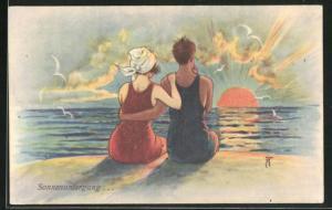 Künstler-AK Arthur Thiele: Liebespaar blick vom Strand auf den Sonnenuntergang