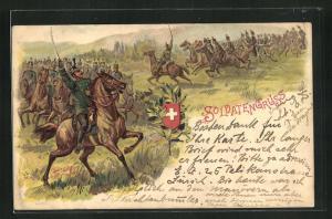 Lithographie Schweizer Soldatengruss, Kavallerie im Sturm