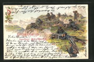 Lithographie Schweizer Soldatengruss, Infanterie auf einem Wachtposten im Gebirge