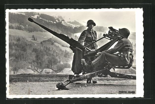 AK Schweizer Soldaten mit Geschütz 0