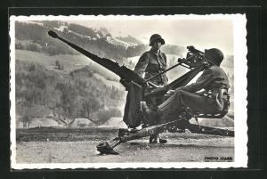 AK Schweizer Soldaten mit Geschütz