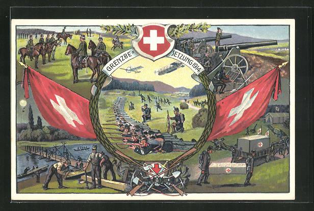 Künstler-AK Occuoation des Frontieres 1914 /15, Schweizer Grenzbesetzung, Kavallerie, Soldaten mit Kanonen 0