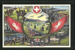 Künstler-AK Occuoation des Frontieres 1914 /15, Schweizer Grenzbesetzung, Kavallerie, Soldaten mit Kanonen