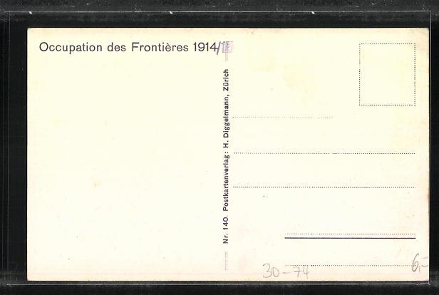 Künstler-AK Occuoation des Frontieres 1914 /15, Schweizer Grenzbesetzung, Kavallerie, Soldaten mit Kanonen 1