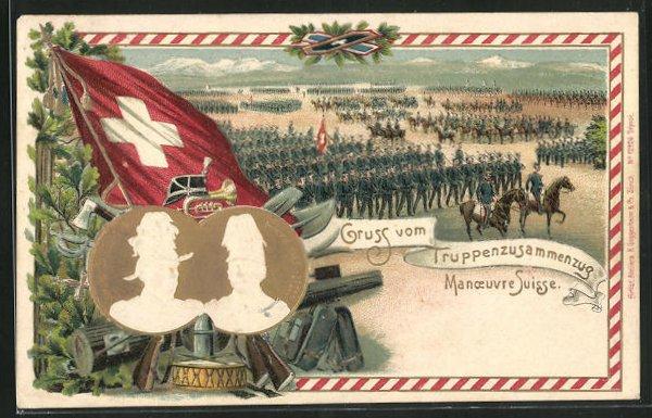 Präge-AK Schweizer Truppenzusammenzug, General G. H. Dufour und Hans Herzog 0