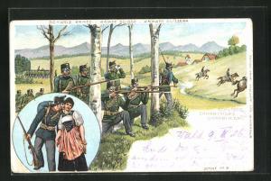Lithographie Schweizer Schweizer Schützen, Infanterie in Schiessstellung