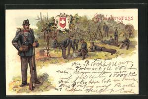 Lithographie Schweizer Soldatengruss, Infanterie macht Rast, Soldat mit Gewehr und Gepäck