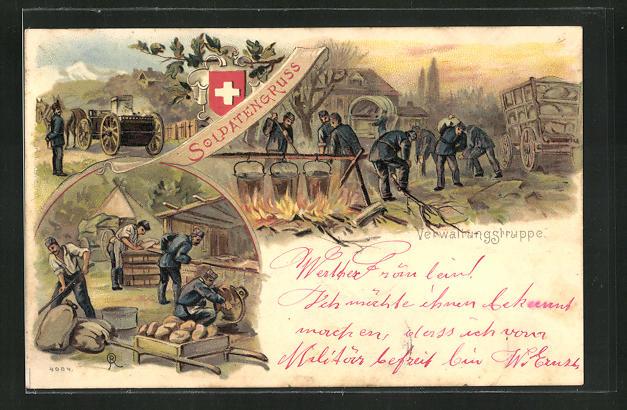 Lithographie Schweizer Soldaten-Verwaltungstruppe im Lager 0