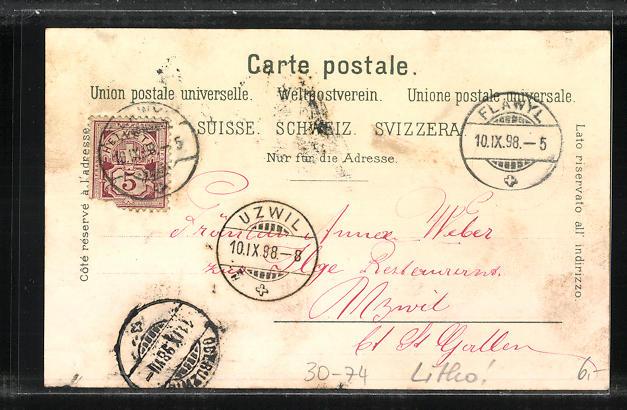 Lithographie Schweizer Soldaten-Verwaltungstruppe im Lager 1