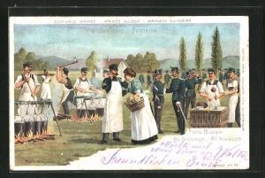 Lithographie Schweizer Infanterie im Biwak