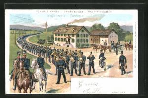 Lithographie Schweizer Infanterie marschiert aus dem Ort