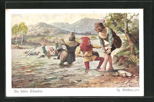 Künstler-AK Georg Mühlberg: Die sieben Schwaben überqueren einen Fluss 0