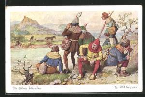 Künstler-AK Georg Mühlberg: Die sieben Schwaben machen Rast am Flussufer
