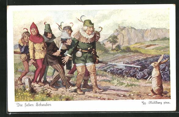 Künstler-AK Georg Mühlberg: Die sieben Schwaben machen erschrocken halt vor einem Kaninchen 0