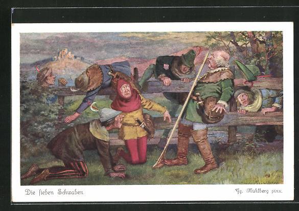 Künstler-AK Georg Mühlberg: Die sieben Schwaben kriechen durch einen Holzzaun 0