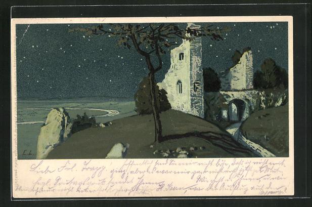 Künstler-AK Ernst Liebermann: Burgruine bei Nacht 0