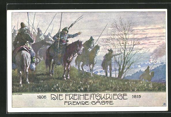 Künstler-AK Ernst Kutzer: Eiserne Zeit, Freiheitskriege, Fremde Gäste, Soldaten blicken vom Berg auf einen Ort 0