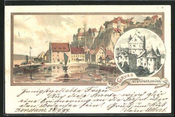 Künstler-AK Karl Mutter: Meersburg, Uferpartie und Schloss 0