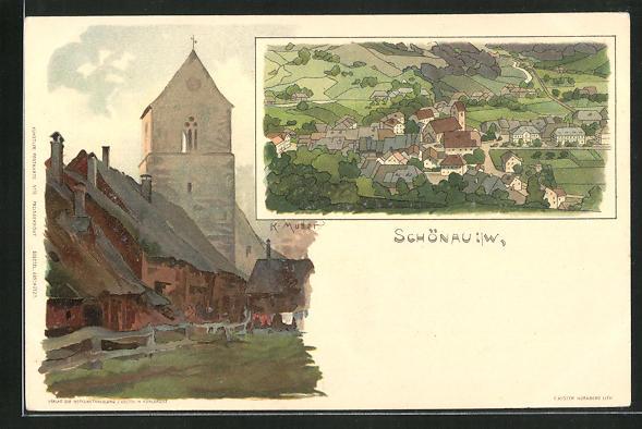 Künstler-AK Karl Mutter: Schönai i. W., Kirche und Panoramaansicht 0