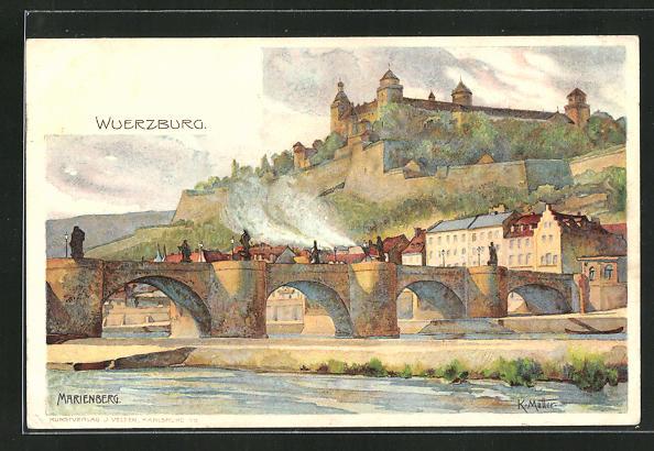 Künstler-AK Karl Mutter: Würzburg, Flussbrücke und Schloss 0