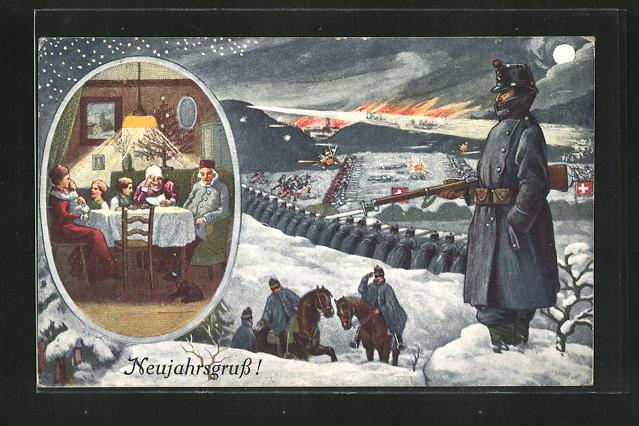 Künstler-AK Schweizer Soldaten mit Bajonett im Schnee, Familie sitzt am Esstisch 0