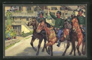 Künstler-AK sign. E. Hodel: Schweizer Kavallerie begrüsst Anwohnerin im Ort