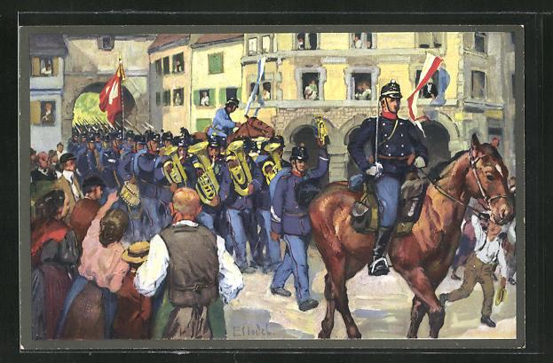 Künstler-AK sign. E. Hodel: Schweizer Militärparade und Anwohner im Ort 0