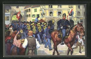 Künstler-AK sign. E. Hodel: Schweizer Militärparade und Anwohner im Ort