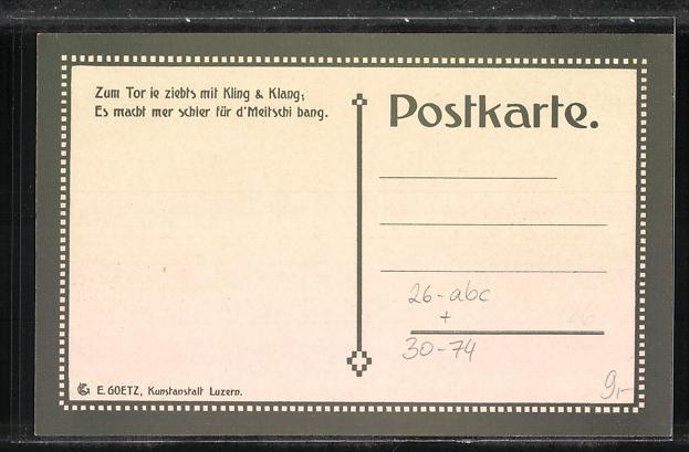 Künstler-AK sign. E. Hodel: Schweizer Militärparade und Anwohner im Ort 1