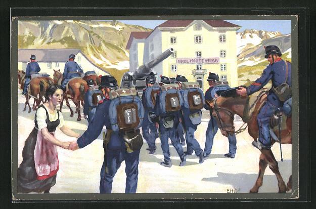 Künstler-AK sign. E. Hodel: Schweizer Soldat verabschiedet sich von der Familie 0