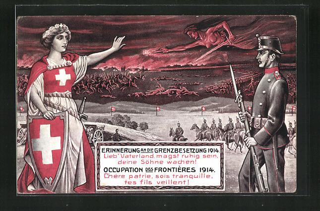 Künstler-AK Schweizer Grenzbesetzung 1914, Göttin und Soldat, Soldaten auf dem Schlachtfeld 0