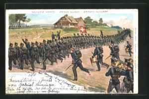 Lithographie Schweizer Soldaten der Infanterie im Sturm