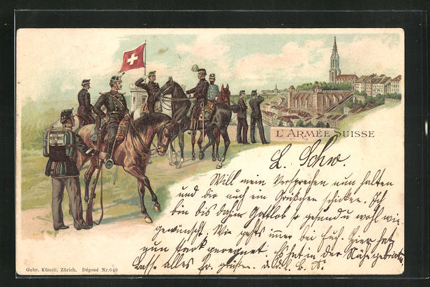 Lithographie Schweizer Armee, Kavallerie blickt auf einen Ort 0