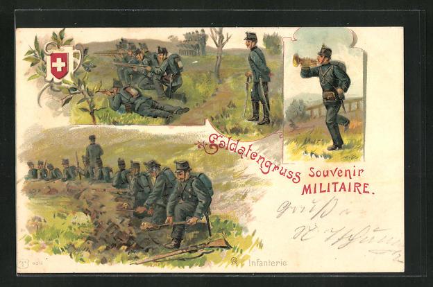 Lithographie Schweizer Infanterie im Schützengraben 0