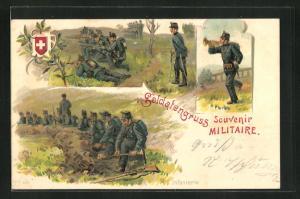 Lithographie Schweizer Infanterie im Schützengraben