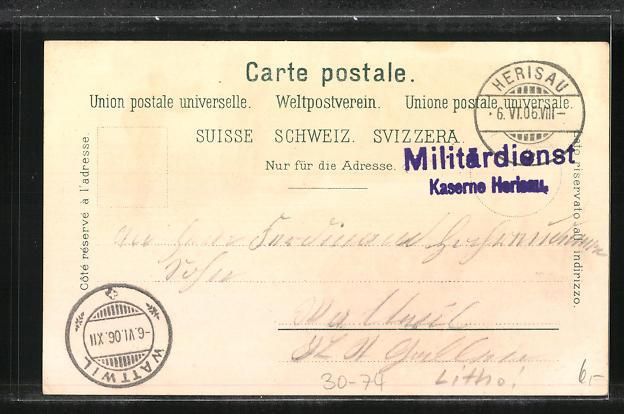 Lithographie Schweizer Infanterie im Schützengraben 1