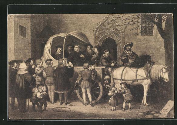 AK Wittenberg, Luther`s Abreise zum Reichstage in Worms 1521 0