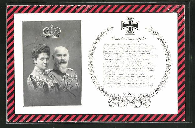 AK König Wilhelm II. von Württemberg, Charlotte zu Schaumburg-Lippe, Deutsches Krieger-Gebet 0