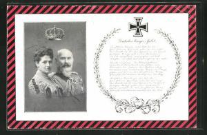 AK König Wilhelm II. von Württemberg, Charlotte zu Schaumburg-Lippe, Deutsches Krieger-Gebet