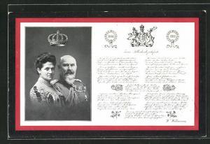 AK König Wilhelm II. von Württemberg, Charlotte zu Schaumburg-Lippe, Zum Silberhochzeitsfeste