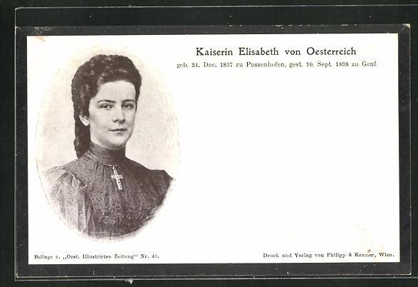 AK Portrait Kaiserin Elisabeth (Sissi) von Österreich, 1837-1898 0