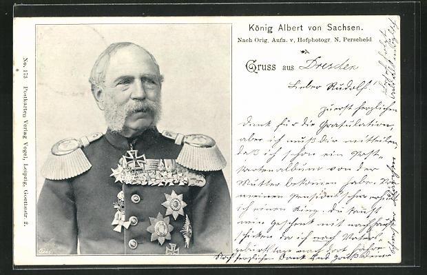 AK Portrait König Albert von Sachsen in Uniform mit Orden 0
