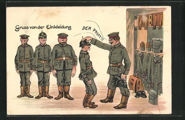 Künstler-AK Bruno Bürger & Ottillie Nr. 7504: Gruss von der Einkleidung beim Militär 0