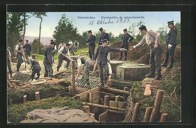 AK Schanzenbau, Schweizerische Grenzbesetzung 1914 0