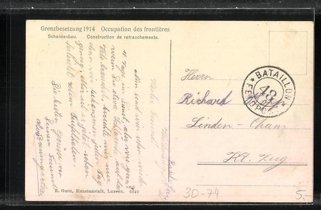 AK Schanzenbau, Schweizerische Grenzbesetzung 1914 1