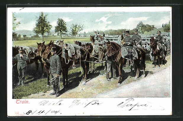 AK Train, Schweizer Soldaten in Uniformen zu Pferde 0