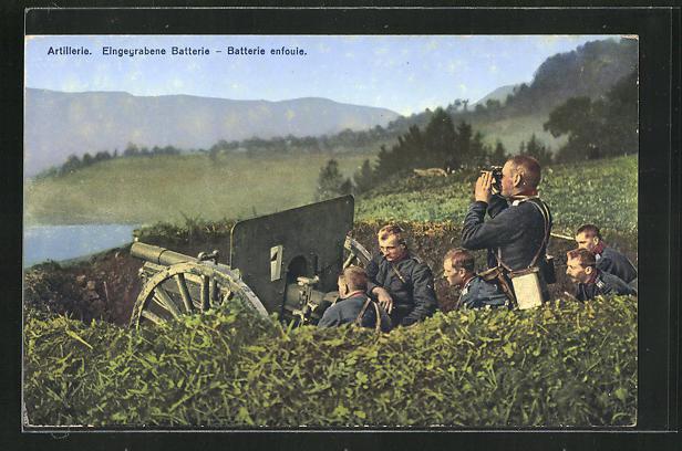 AK Artillerie, Eingegrabene Batterie, Schweizerische Grenzbesetzung 1914 0