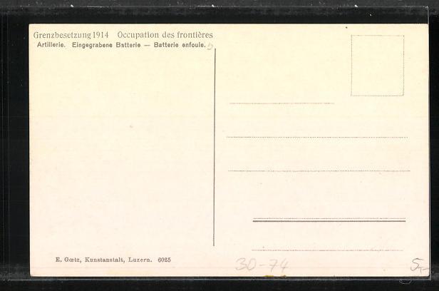 AK Artillerie, Eingegrabene Batterie, Schweizerische Grenzbesetzung 1914 1