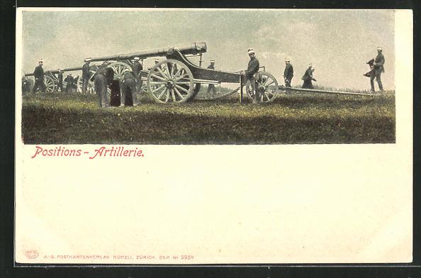AK Positions-Artillerie, Schweizer Soldaten in Uniformen mit Geschütz 0