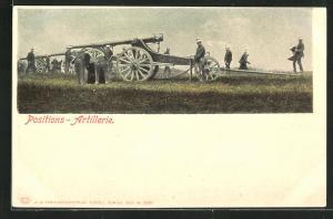 AK Positions-Artillerie, Schweizer Soldaten in Uniformen mit Geschütz